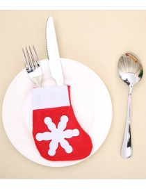 Fashion Red Snowflake Socks Christmas Knife And Fork Set