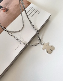 Fashion Double Layer Bear Stainless Steel Thick Chain Necklace