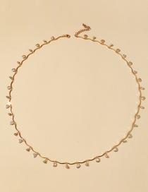 Fashion Geometry Leaf Studded Geometric Circle Love Heart Tassel Waist Chain