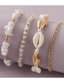 Fashion White Shell Rice Beads Woven Multilayer Anklet