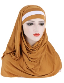 Fashion Turmeric Milk Silk Hit Color Flat Forehead Scarf Hat Two-piece Set