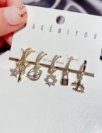 Fashion Real Gold Plated Micro-inlaid Zircon Star Key And Planet Earrings Set