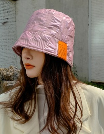 Fashion Pink Down Cotton Letter Label Fisherman Hat