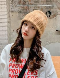 Fashion Khaki Thick Knitted Letter Wool Fisherman Hat