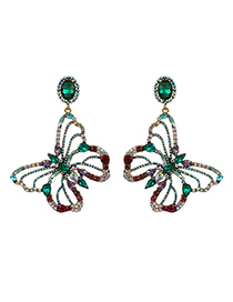 Fashion Green Alloy Diamond Hollow Butterfly Stud Earrings