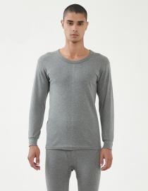 Fashion Round Neck Dark Gray Thin Slim V-neck Mens Thermal Underwear Set