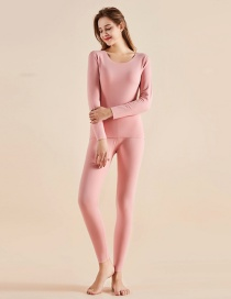 Fashion Light Pink Plus Velvet Seamless Double-sided Sanding Cationic Womens Thermal Underwear Set
