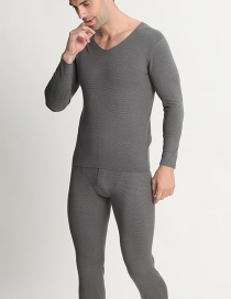 Fashion Light Gray Fleece V-neck Double-sided Brushed Mens Seamless Thermal Underwear Set