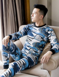 Fashion Blue And White Brushed Printed Round Neck Mens Thermal Underwear Set