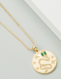 Fashion Golden Serpentine Motif Carved Pendant Copper Plated Real Gold And Micro-inlaid Zircon Necklace