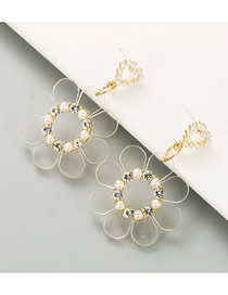 Fashion Transparent White Transparent Flower Pearl Earrings With Diamonds