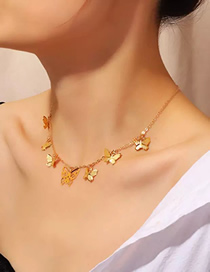 Fashion Golden Butterfly Tassel Pendant Necklace