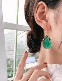 Fashion Green Drop Inlaid Crystal Alloy Earrings