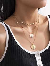 Fashion Golden Multilayer Necklace With Micro Diamond Round Alloy Pendant