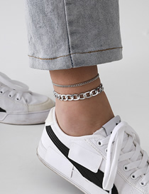 Fashion White K Tassel Double Cross Chain Alloy Multilayer Anklet