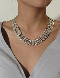 Fashion Silver Hollow Chain Wide Side Alloy Necklace