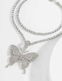 Fashion White K White Diamond Multi-layer Anklet With Big Butterfly And Diamonds
