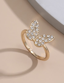 Fashion Gold Transparent Diamond Butterfly Micro-set Rhinestone Ring