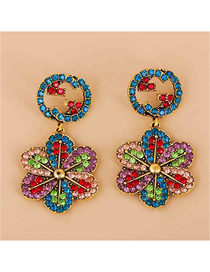 Fashion Color Geometric Round Flower Earrings With Diamonds