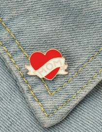 Fashion Red Love Alloy Letter Paint Brooch