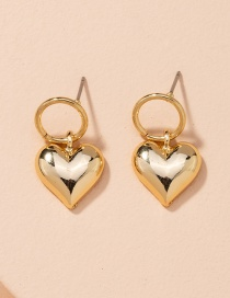 Fashion Golden Love Round Alloy Earrings