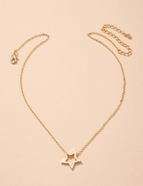 Fashion Golden Five-pointed Star Alloy Hollow Necklace