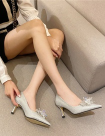 Fashion Silver Color Pointed Shallow Mouth Crystal Flower High-heeled Shoes