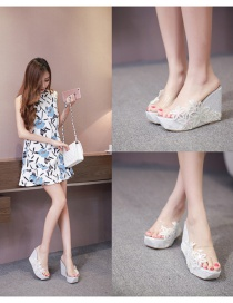 Fashion White Wedge Lace Flower High Heel Open-toe Sandals And Slippers