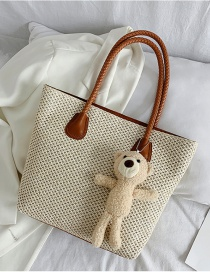 Fashion Creamy-white Straw Woven Large Capacity Single Shoulder Bag