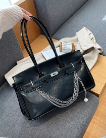Fashion Coffee Color Large-capacity Chain Stitching Lock Shoulder Bag