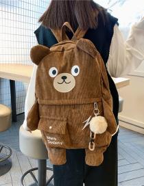 Fashion Brown Send Pendant Large Capacity Corduroy Bear Backpack