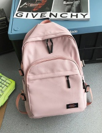 Fashion Pink Waterproof Letter Logo Nylon Fabric Backpack