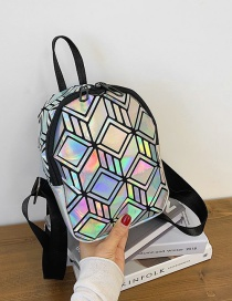 Fashion Silver Color Laser Quilted Geometric Pattern Backpack