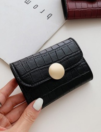 Fashion Black Stone Pattern Flap Lock Short Wallet