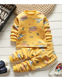 Fashion Yellow Dinosaur No. 75/120 Is Recommended For Height 110 Printed Plus Velvet Thick Milk Silk Childrens Thermal Underwear And Home Service Suit