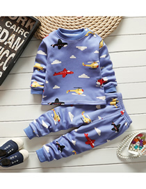 Fashion Aircraft 70/110 Is Recommended For Height 100 Wear Printed Plus Velvet Thick Milk Silk Childrens Thermal Underwear And Home Service Suit