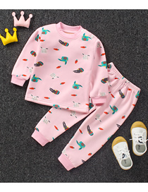 Fashion Carrot Bunny No. 75/120 Is Recommended For Height 110 Printed Plus Velvet Thick Milk Silk Childrens Thermal Underwear And Home Service Suit