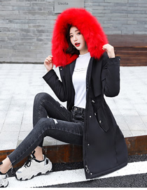 Fashion Red Black Mid-length Lining Lamb Hair Slim And Thick Hooded Pie To Overcome