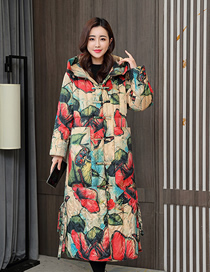 Fashion Yellow Flower Printed Lengthened Slim And Thick Cotton Jacket