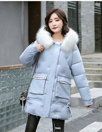 Fashion Blue Mid-length Hooded Loose Embroidered Down Cotton Jacket