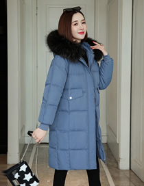 Fashion Blue Mid-length Down Bread Jacket With Fur Collar