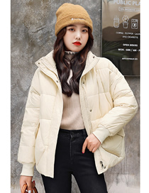 Fashion Beige Thick And Short Stand-up Collar Loose Cotton Jacket