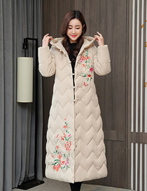 Fashion Off-white Mid-length Long-sleeved Printed Over-the-knee Down Padded Jacket