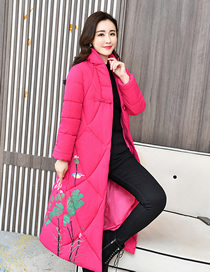 Fashion Rose Red Over-the-knee Printed Down Padded Jacket