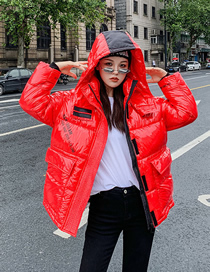 Fashion Shiny Red Loose Hooded Thick Printed Bread Jacket