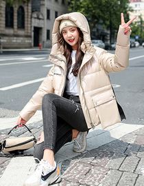 Fashion Champagne Hooded Thick Short Loose Plus Size Down Padded Jacket