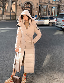 Fashion Beige Long Hooded Printed Cotton Jacket
