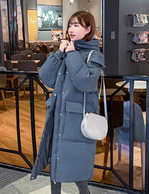 Fashion Blue Mid-length Loose Hooded Down Padded Jacket