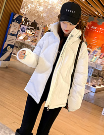 Fashion Pure White Pu Bright Silk Letter Embroidery Stand Collar Loose Down Cotton Jacket