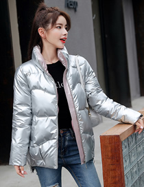 Fashion Silver Color Loose And Shiny Stand-up Collar Short Down Padded Jacket